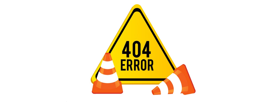 Yellow, triangular 404 error sign with two orange construction cones in front of it.