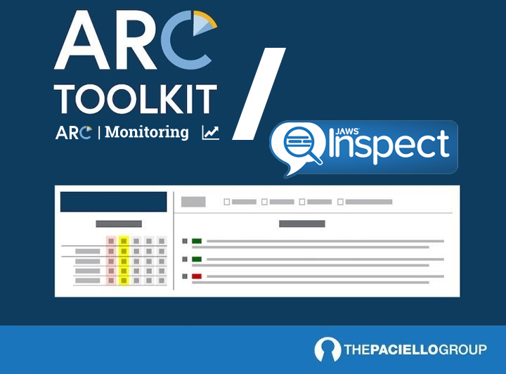 The ARC Toolkit and ARC Monitoring logos sit to the left of the Jaws Inspect Logo divided by a large white back slash. Below these logos is an illustration of the ARC/JI Testing Bundle dashboard.