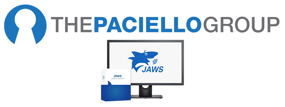 Image. The Paciello Group logo sits above a flat screen computer monitor displaying the JAWS logo (A talking shark.) Beside the monitor sits the JAWS software box.