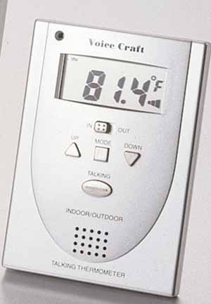 Photo of the Silver Indoor Outdoor Talking Thermometer for $16.95 USD - Flying Blind, LLC Online Store