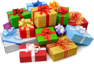 Photo of a large stack of brightly colored presents of various sizes and shapes stacked on top of one another. Each gift tied with a large, ornate, and colorful bow.'