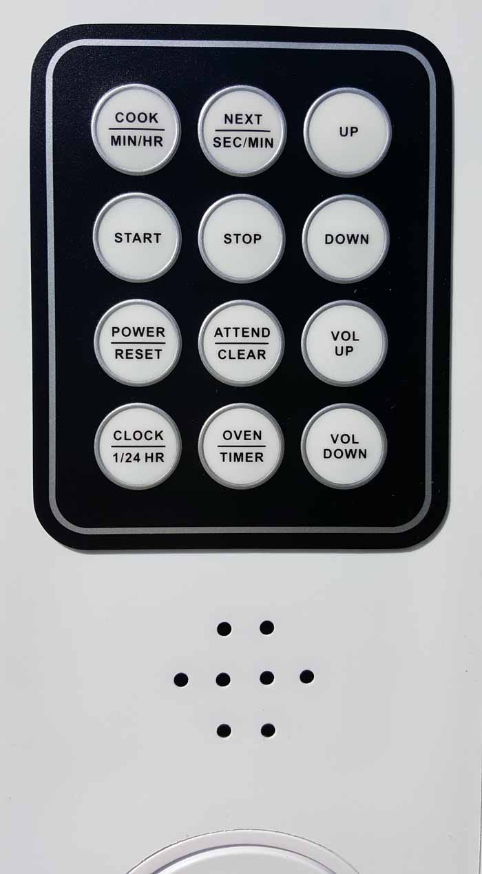 Close up photo of the tactile buttons on the front of the Talking Microwave 1.0 Cubic Foot Capacity for $399.95 USD - Flying Blind, LLC Online Store