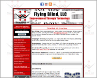 Screen Shot of the Flying Blind, LLC Online Store.