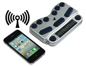 Photo of a BraillePen Touch connecting wirelessly via Bluetooth to an iPhone
