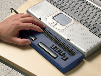 Photo of the HandyTech Easy Braille Refreshable Braille Terminal