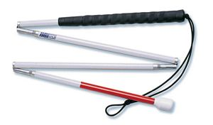 Photo of the Ambutech 4 Piece Folding Cane With Hook Style Marshmallow Tip - Various Lengths - $32.00 USD Each - Flying Blind, LLC Online Store