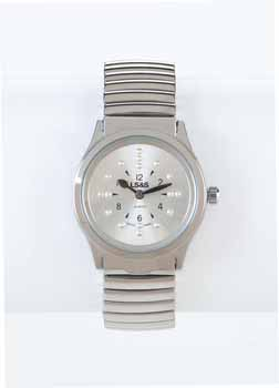 Photo of the Braille Watch Silver Face Silver Expansion Band - $69.95 USD Each - Flying Blind, LLC Online Store