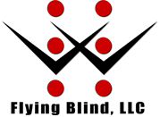 Flying Blind, LLC Logo. The black silhouettes of two birds, wings crossed in the center, sit between six red, individual dots which together form a complete braille cell. The company name, Flying Blind, LLC, rests below the image in bold black letters.