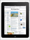 Photo of an Apple iPad showing the New York Times inside the Safari browser.