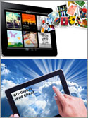 A split image photo with the top half of the photo showing an iPad spewing countless photos and documents from its interior and the bottom half showing a user connecting the Apple iPad to the sky. An allusion to to the new iCloud.