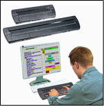 Photo of a Focus 40-Cell Braille Terminal and a Focus 80-Cell Braille Terminal above a photo of a man working on a PC using a Focus 80-Cell Braille Terminal.