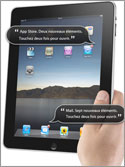 Photo of the Apple iPad with Voiceover call outs assisting its user with various tasks.
