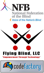 National Federation of the Blind Logo, Flying Blind, LLC Logo, and Code Factory Logo